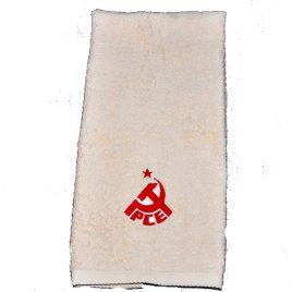 Toalla de lavabo blanco marfil con logo PCE Bordado